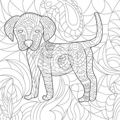 Livre De Coloriage De Chien Anti Stress Vecteur Pour Adulte Papier Peint Papiers Peints Coloration Contre A Main Levee Myloview Fr