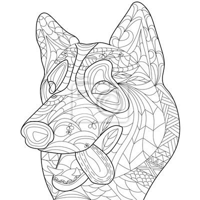 Coloriage Anti Stress Chien.Livre De Coloriage De Husky Anti Stress Vecteur Adulte Chien Papier