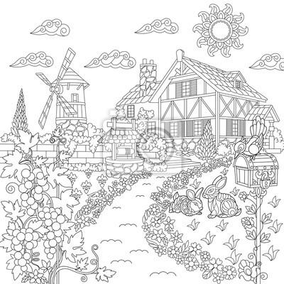 Papiers Peints Livre Pour Colorier Du Paysage Rural Ferme Moulin A Vent Puits