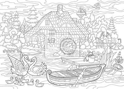 Papiers Peints Livre Pour Colorier Page De Paysage Rural Ferme Canards Chats