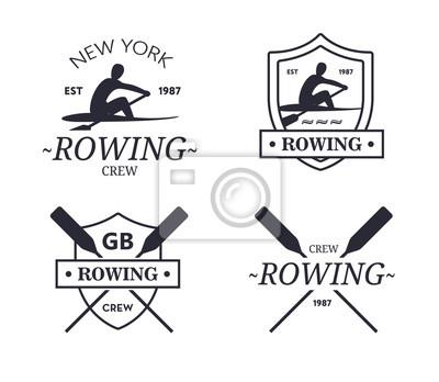 Papiers peints Logo de l'équipe d'aviron. Vector emblème de l'équipage d'aviron avec des pagaies. Rower silhouette.