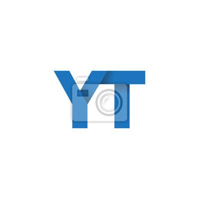 Papiers Peints Logo De Lettre Initiale Yt Logo De Pli Superposé Couleur Bleue