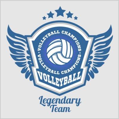 Papiers peints Logo du championnat de volleyball avec ballon. Insigne de sport vectoriel pour le tournoi ou le championnat