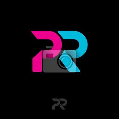 Logo Pr Embleme De Relations Publiques Lettres Dorigami Bleu