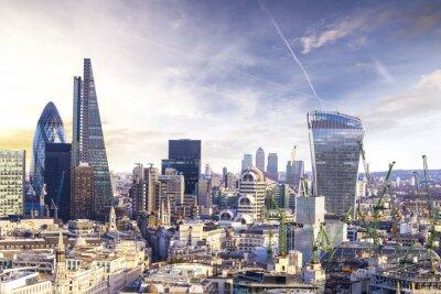 Papiers peints Londres coucher de soleil, vue sur le quartier moderne des affaires