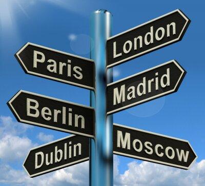 Papiers peints Londres Paris Berlin Madrid orientation pour l'Europe Voyage Touris Affichage