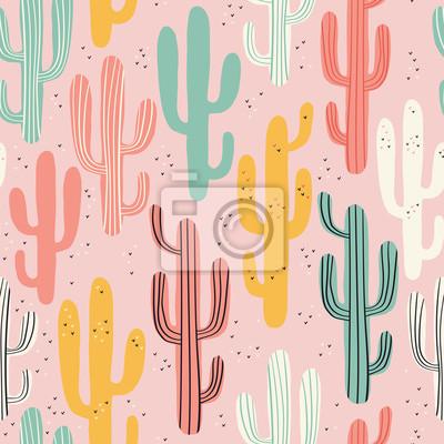 Long Cactus Multicolores Sur Fond Rose Modèle Sans Couture Avec