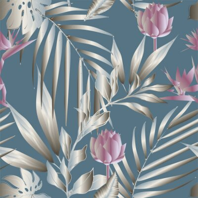 Papiers peints Lotus flowers surrounded by palm leaves seamless pattern. Vector illustration with tropical plants.
