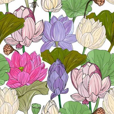Papiers peints Lotus or water lilies seamless pattern. Elegant tropical floral background. For packaging, print, fabric, wallpaper, invitations.