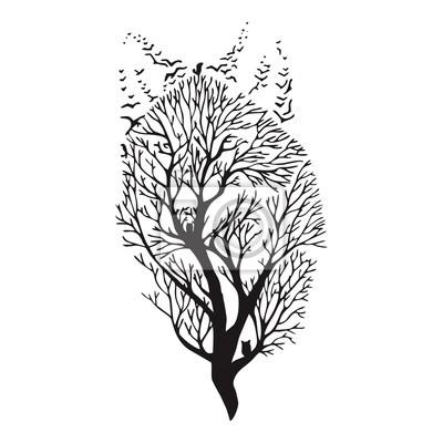 Papiers peints Loup courir silhouette double exposition mélange arbre dessin tatouage vecteur