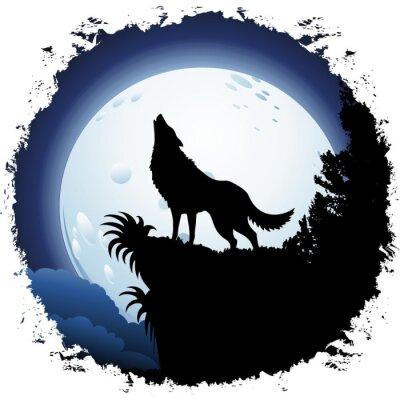Papiers peints Loup hurlant à la lune bleue sur grunge Cadre