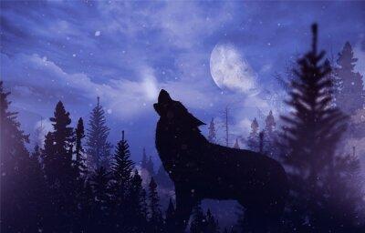 Papiers peints Loup hurleur dans le désert