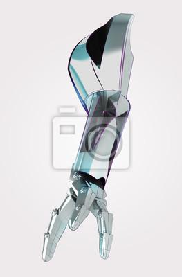 Lumière brillant métallique tout le bras robotique à usage industriel