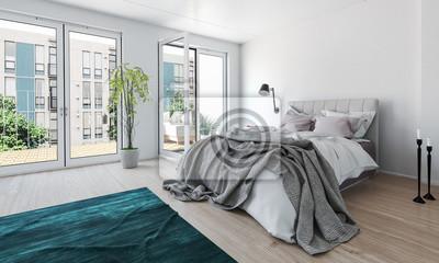 Papiers peints: Lumineux chambre moderne dans un appartement de grande  hauteur
