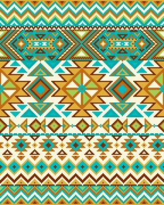 Papiers peints Lumineux, seamless, fond, pixel, modèle, aztèque, géométrique, tribal, Style Illustration vectorielle. Couleurs Pantone.