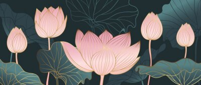 Papiers peints Luxurious background design with golden lotus. Lotus flowers line arts design for wallpaper, natural wall arts, banner, prints, invitation and packaging design. vector illustration.