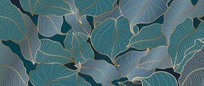 Papiers peints Luxury gold tropical leaves background vector. Wallpaper design with golden line art texture from palm leaves, Jungle leaves, monstera leaf, exotic botanical floral pattern.