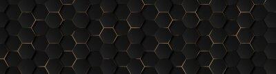 Papiers peints Luxury hexagonal abstract black metal background with golden light lines. Dark 3d geometric texture illustration. Bright grid pattern. Pure black horizontal banner wallpaper. Carbon elegant wedding BG