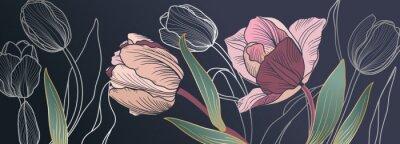Papiers peints Luxury pink tulips background vector with golden metallic decorate wall art