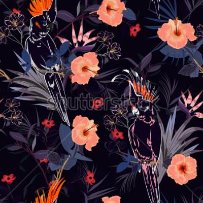 Papiers peints Magnifique imprimé floral tropical. Décrire l'oiseau perroquet dans la jungle et les fleurs dans la conception estivale de la forêt exotique, modèle sans couture vecteur pour le mode, wallpaoer et