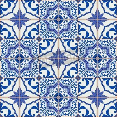 Magnifique Motif De Patchwork Sans Couture De Bleu Marine Et Papier