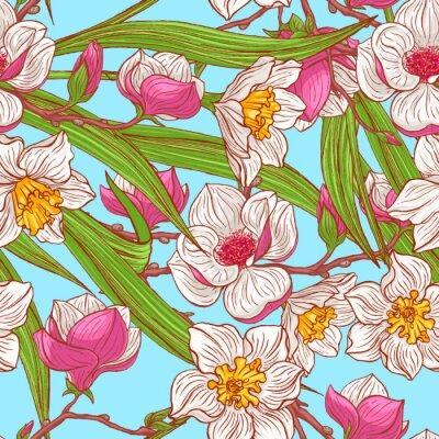 Papiers peints magnolias de couleurs et de narcisses