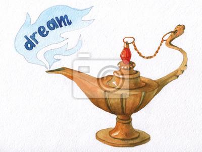 Main, aquarelle, Illustration, magique, Aladdin, génie, lampe