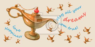 Main, aquarelle, Illustration, magique, Aladdin, génie, lampe Fond jaune pâle, conception 4.