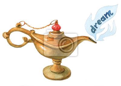 Main, aquarelle, Illustration, magique, Aladdin, génie, lampon, blanc, fond Rêve 2.