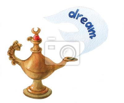 Main, aquarelle, Illustration, magique, Aladdin, génie, lampon, blanc, fond Rêve 4.