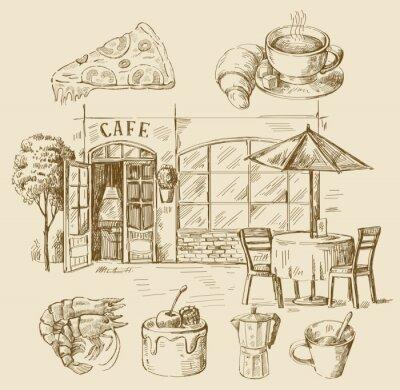 Papiers peints main dessiné café