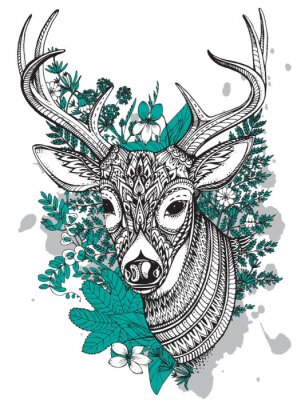 Papiers peints Main, dessiné, vecteur, cornu, cerf, élevé, détails, ornement