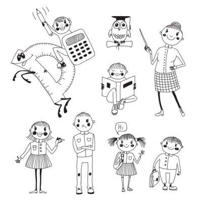 Papiers peints Main enseignant et les élèves dessinée.