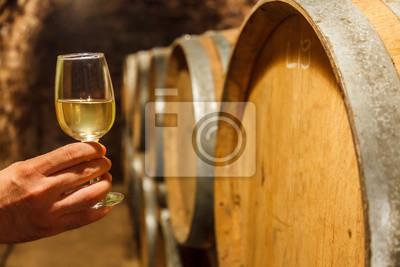 Main, tenue, verre, blanc, vin, cave