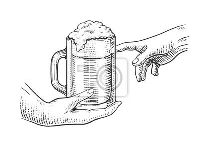 Mains, tasse, bière, gravure, Style, vecteur