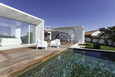 Papiers peints: Maison moderne avec piscine dans le jardin et terrasse en  bois