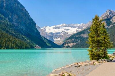 Papiers peints Majestic lac de montagne au Canada. Vue sur le lac Louise à Banff, Alberta, Canada. Montagnes Rocheuses.