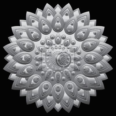 Mandala Argente Est Conception Ethnique Motif Oriental Ornement