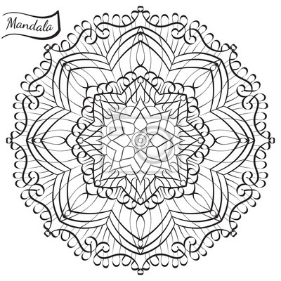 Mandala De Vecteur Pour Livre De Coloriage Adulte Anti Stress Papier Peint Papiers Peints Boheme Complexe Ottoman Myloview Fr