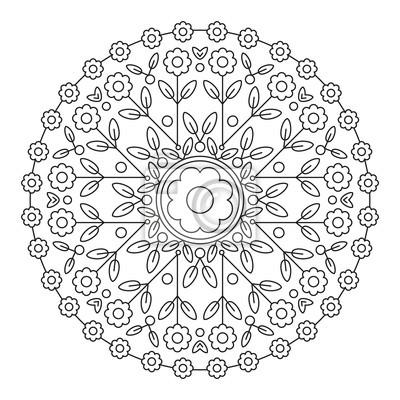 Coloriage Mandala Rond.Mandala Element De Fleur Rond Pour Le Livre De Coloriage Lignes