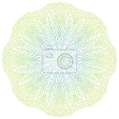 Mandala Fleur Circulaire Vert Jaune Element Decoratif Vintage