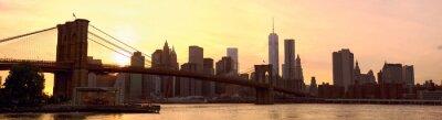 Papiers peints Manhattan, Horizon, panorama, Brooklyn, pont, Coucher soleil, nouveau, York ...