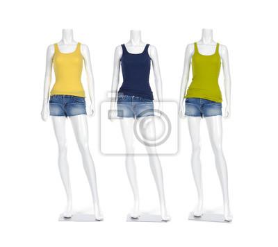 876d62c3f65a46 Papiers peints: Mannequin femme t-shirt coloré habillé en jeans courts