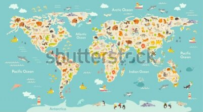 Papiers peints Map animal for kid. Continent of world, animated child's map. Vector illustration animals poster, drawn Earth. Continents and sea life. South America, Eurasia, North America, Africa and Australia