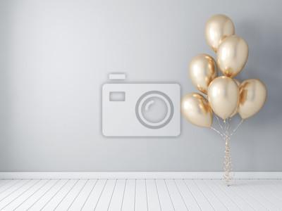 Papiers peints Maquette d'affiche de cadre avec des ballons d'or, rendu 3d de ballon d'air