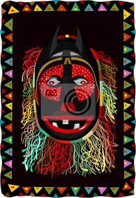 Masque africain à franges