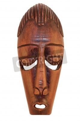 Masque africain en bois de cérémonie isolé sur fond blanc