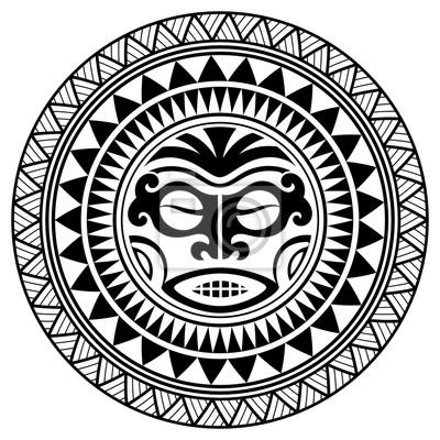 Masque De Conception De Tatouage Polynesien Masques Effrayants Papier Peint Papiers Peints Maui Culture Amerique Du Sud Myloview Fr