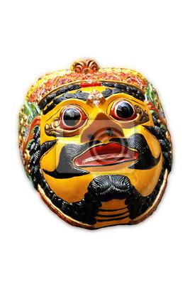 Masque en bois avec le personnage de l'homme de Malang East Java Indonésie