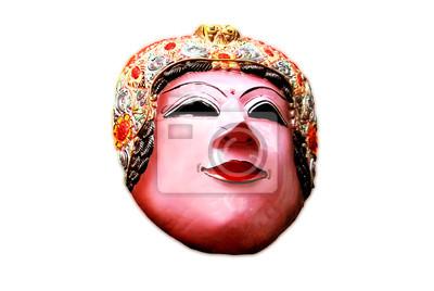 Masque en bois avec personnage de la femme de Malang East Java Indonésie